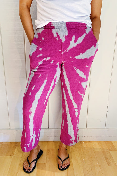 Unisex Upcycled One Of Kind Fuchsia Tie Dye Pants #21