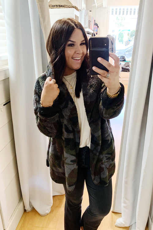 Camo Print Teddy Bear Jacket