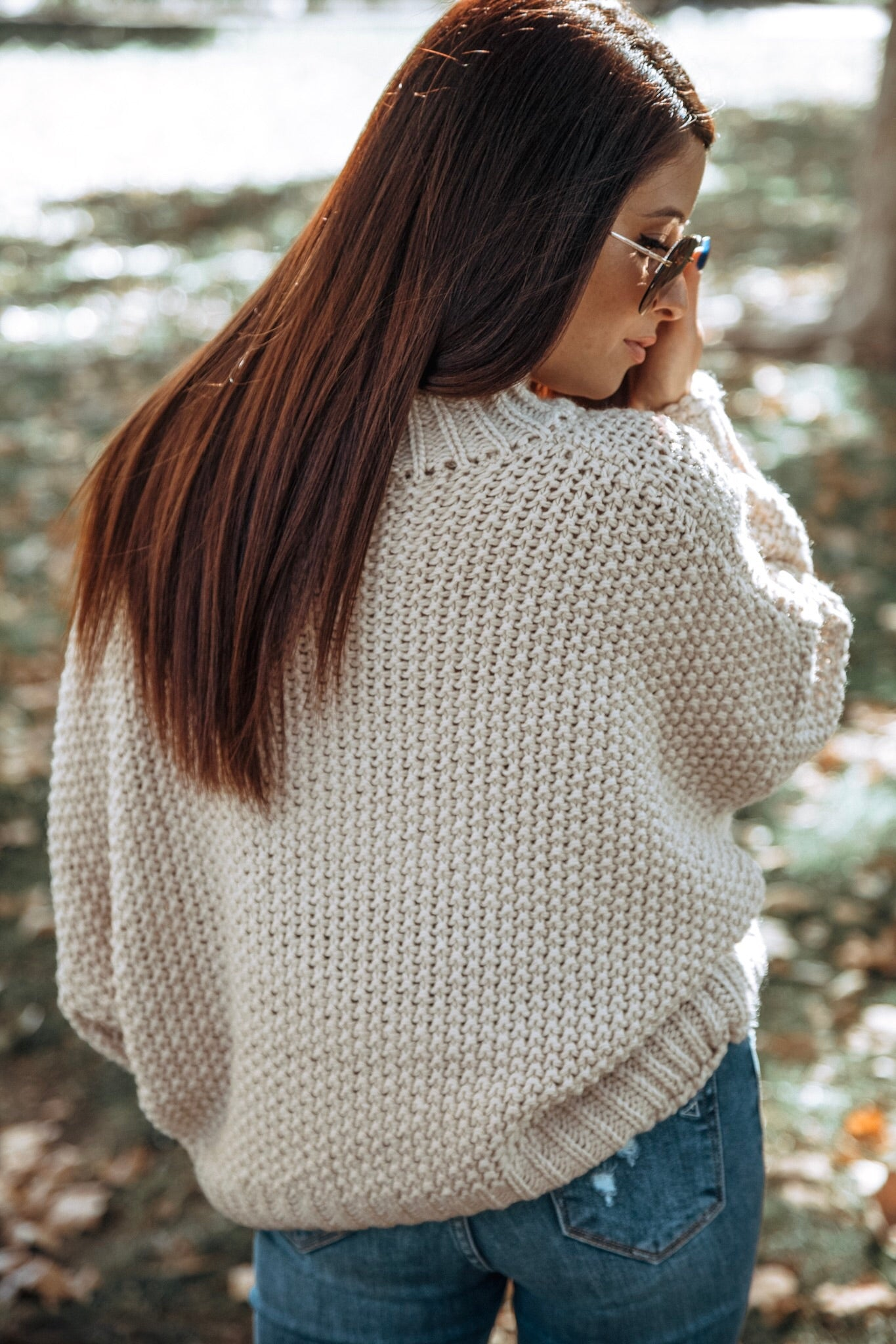 Stolen Hearts Chunky Knit Turtle Neck Boxy Sweater - Natural