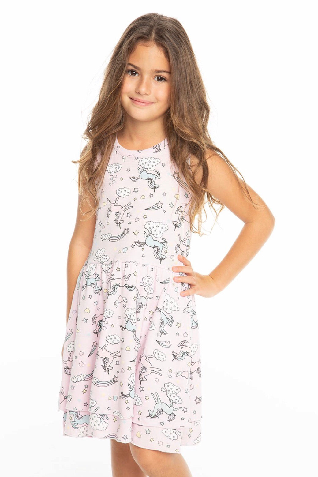 Chaser Kids All Over Unicorn Baby Rib Tiered Tank Dress - Darling
