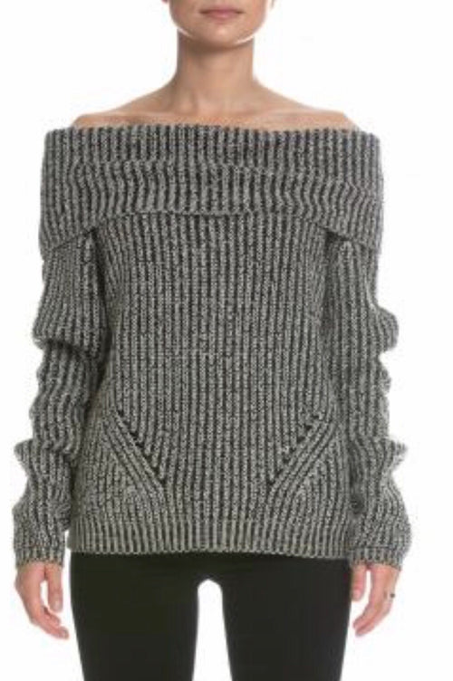 Elan Off Shoulder Sweater - Natural Black