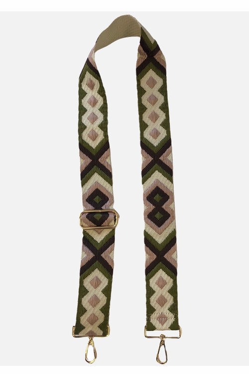 Ahdorned Embroidered Brown/Blush  Geometric Strap