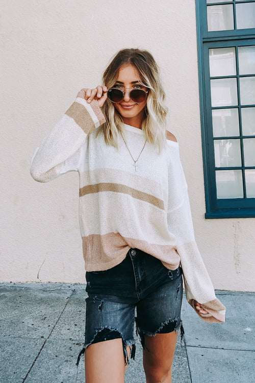Color Block Light Weight Knit Sweater