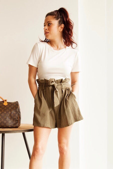 Olive Paper Bag Waist Shorts with tie belt/button front