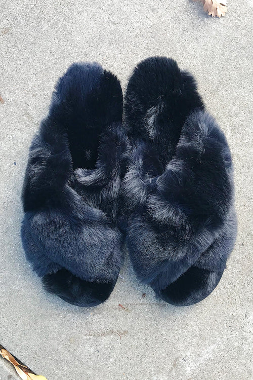 Black Cross Band Fuzzy Slippers