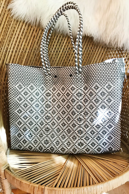 Wahako Large Tote- Grey & White  #11