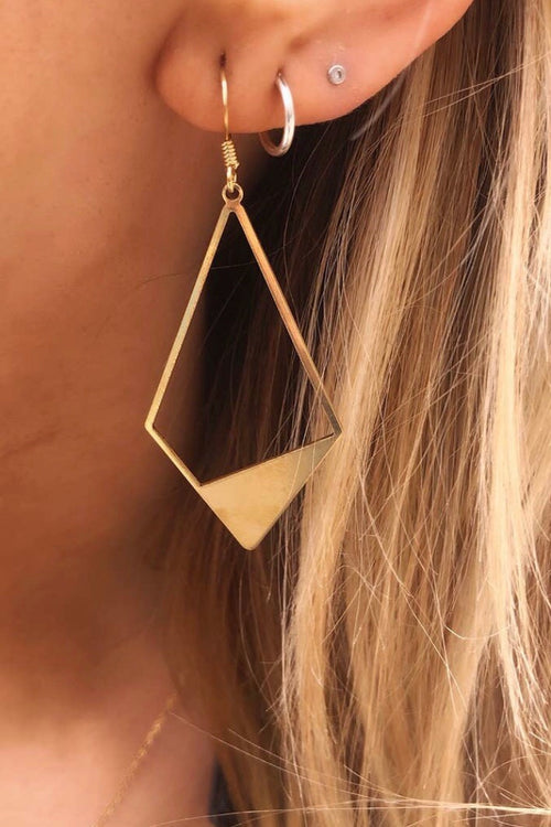 Geo Metal Earrings - Gold Kite
