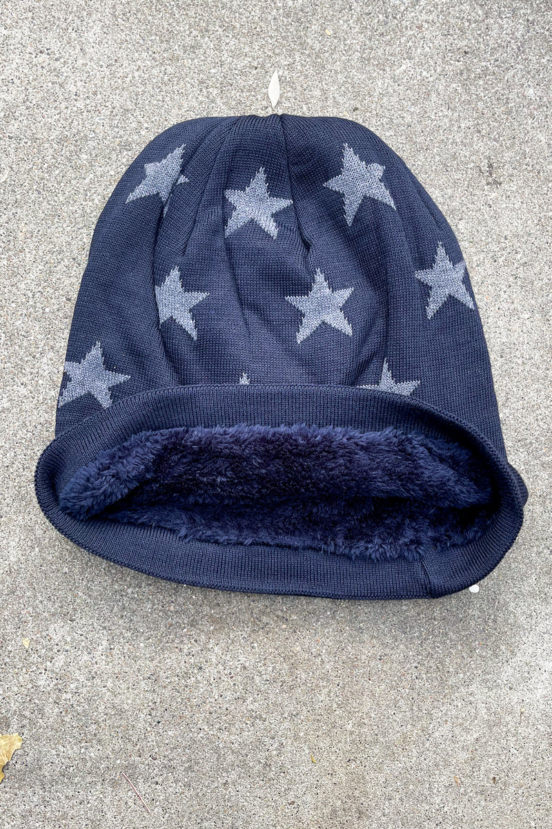 Star Fur Lined Beanies-Navy
