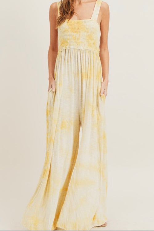 Yellow Tie Dye Smocked Jumpsuit