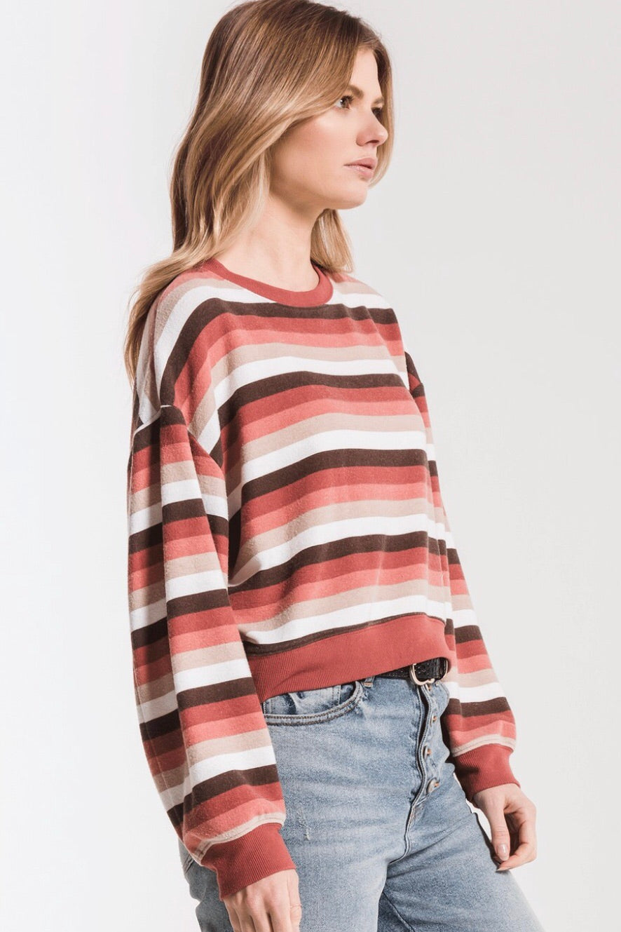 Z Supply The Rainbow Stripe Pullover - Mesa Red