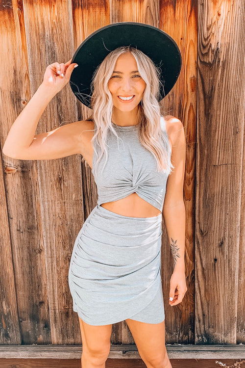 Heather Grey Front Cut Off Twisted Knot Ruched Mini Dress