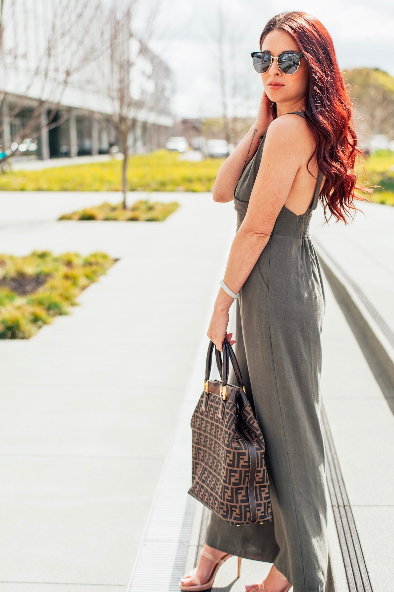 Olive Surplice Jumpsuit with Wide Leg Pants