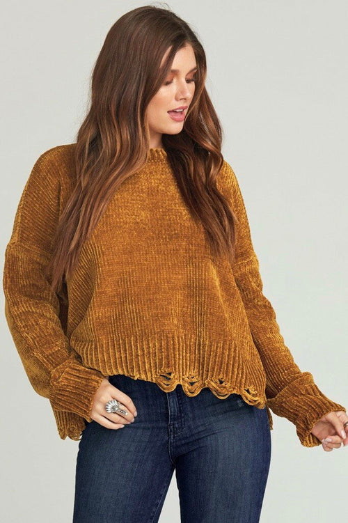 Show Me Your Mumu Fawn Sweater - Ochre Chenille Knit