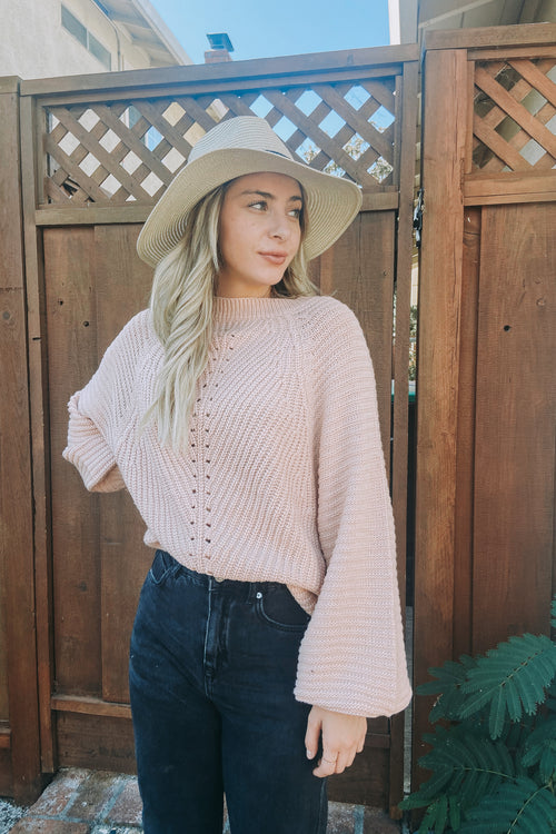 Dusty Pink Balloon Sleeve Sweater