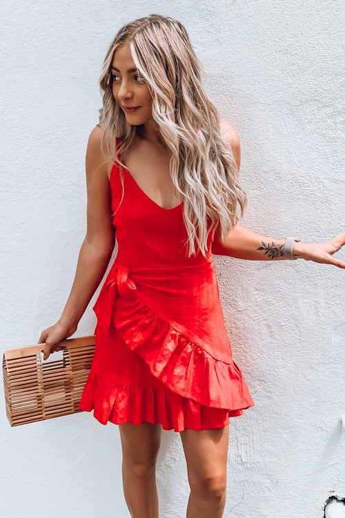 Red Side Tie Wrap Ruffle  Strappy Dress