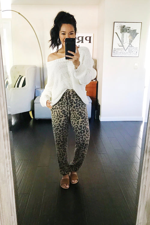 Brown Leopard Joggers with side pockets