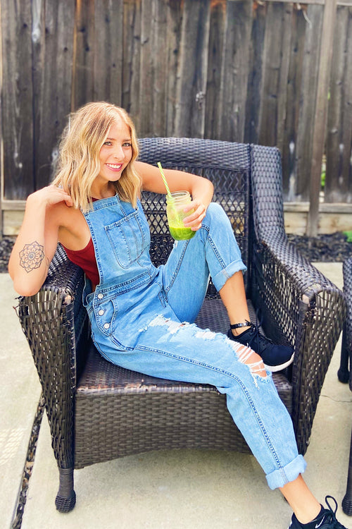 Light Wash Distressed Denim Overalls