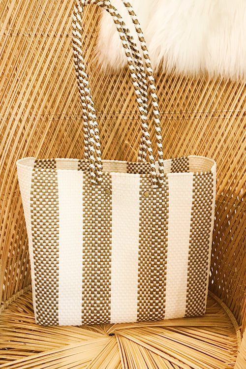 Wahako Medium Tote-Gold & Ivory #3