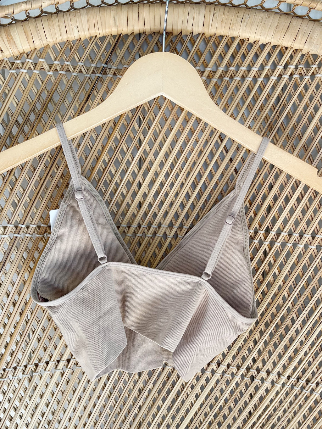 Taupe Seamless Ribbed Deep V-Neck Bralette