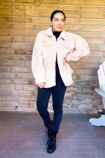 Taupe Faux Fur Shirt Style Jacket