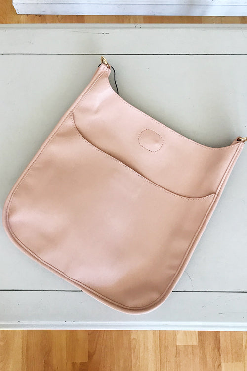 Ahdorned Blush Soft Faux Leather Messenger Bag
