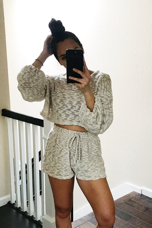 Taupe Balloon Sleeve Round Neck Top & Shorts Set