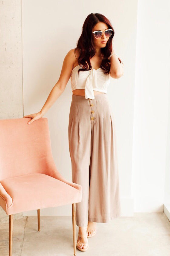 Taupe Button Front Wide Leg Ankle Pants