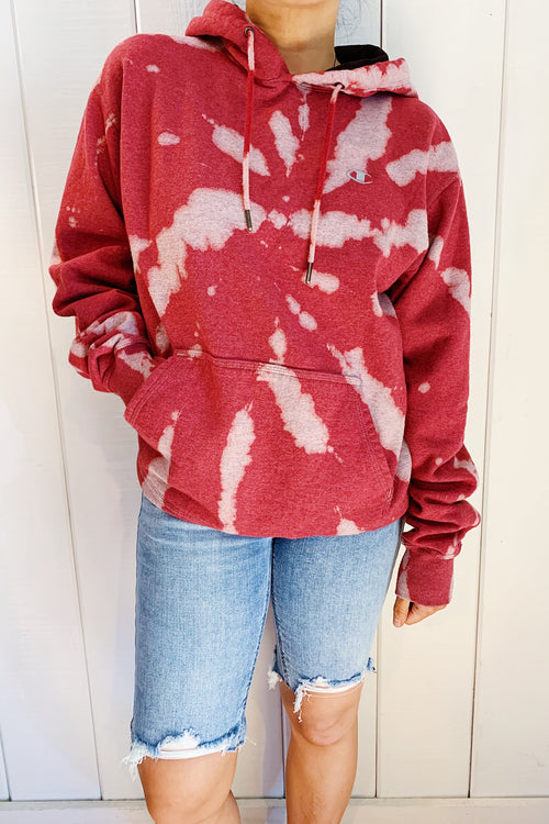 Unisex Upcycled One Of Kind Rust Red Tie Dye Hoodie #26