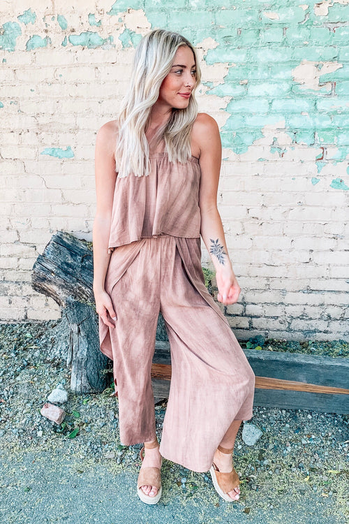 Audrey Hippie Washed Dye Layover Tube/Strapless Jumpsuit
