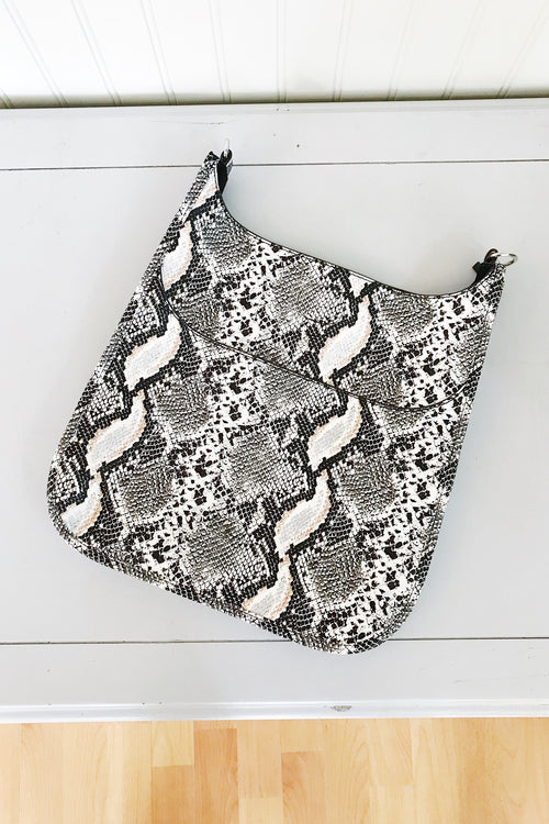 Ahdorned Cream Python Messenger Bag  /Silver Tone Hardware