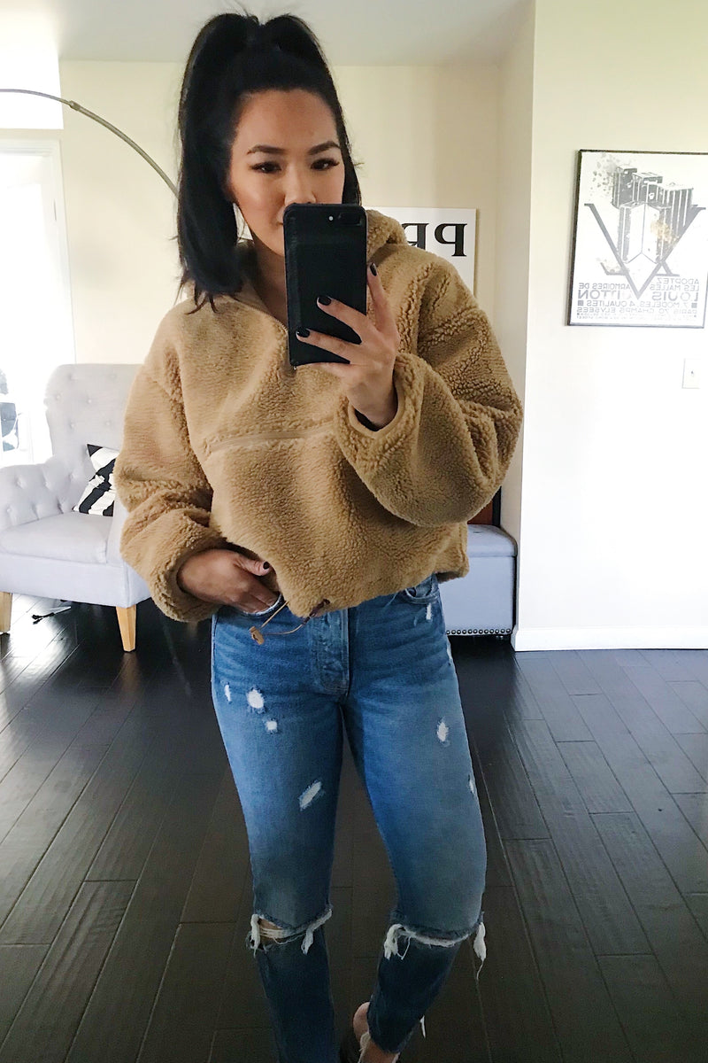 Copper Crop Half Zip Sherpa Pullover