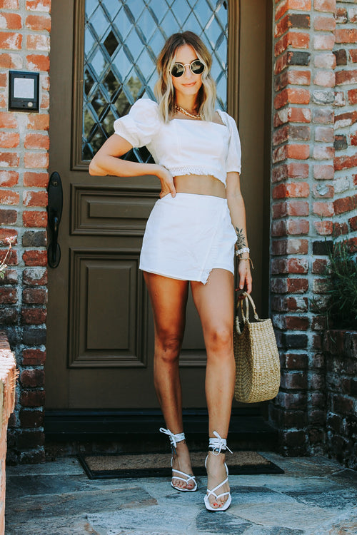 Off White Puff Top & Shorts 2pc Set