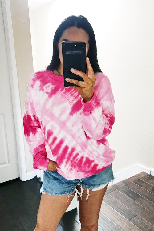 Fuchsia Tie Dye French Terry Sweatshirt