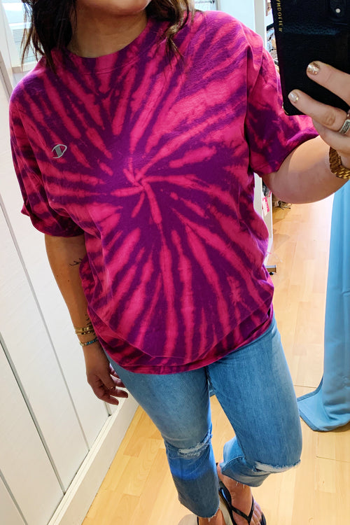 Unisex Upcycled One Of Kind Purple/Fuchsia Tie Dye Tee #3