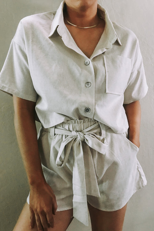 Linen 2pc Shirt & Shorts Set