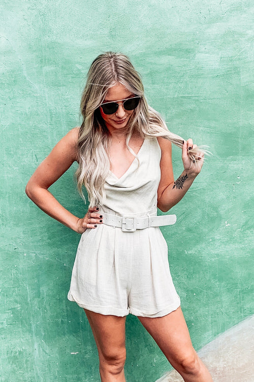 Earthy Stone Belted Cowl Neck Romper