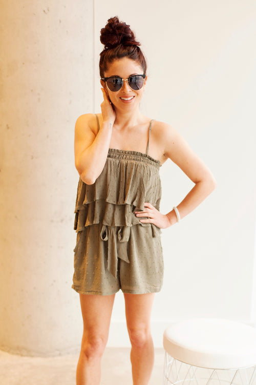 2 PC SET Baby Doll Top and Tie Front Shorts - Olive
