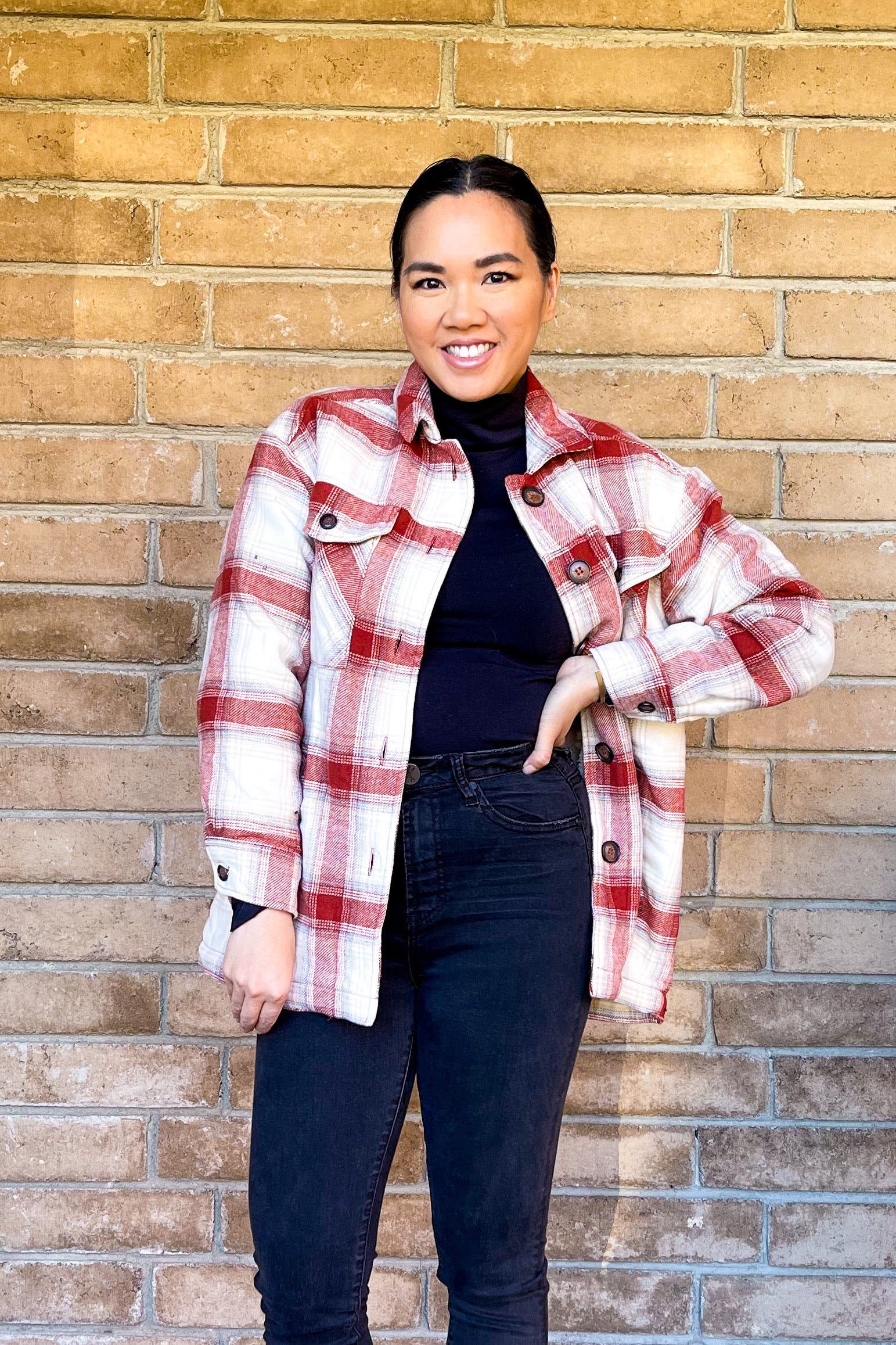 Terra Cotta Plaid Shacket with Sherpa Lining