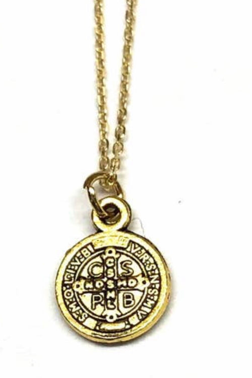 Small St. Benedict Coin Necklace - Gold Coin