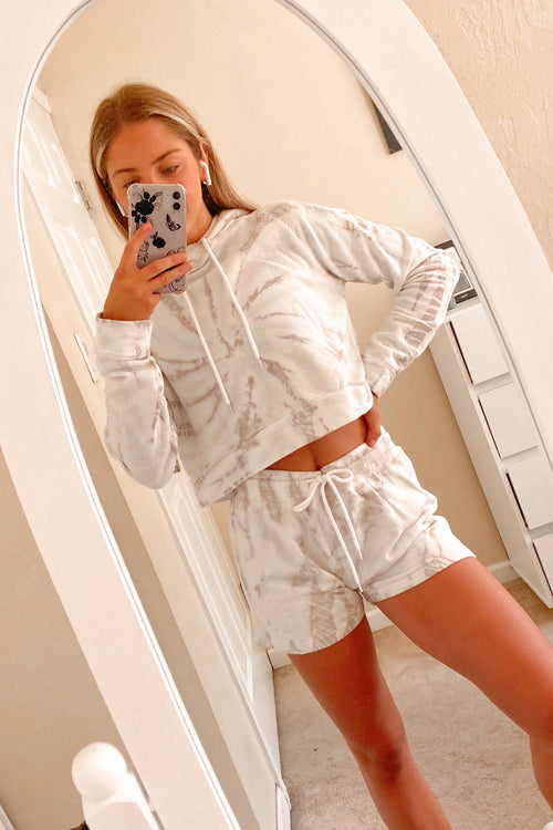Grey & White Tie Dye Hoodie Shorts Set