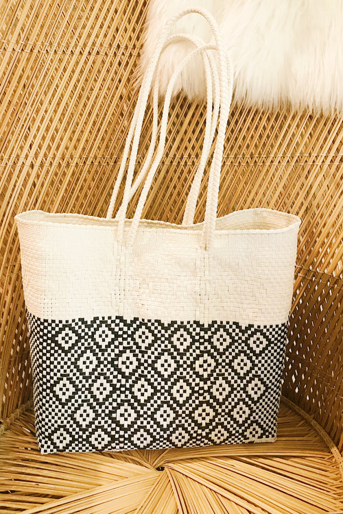 Wahako Medium Tote-Black & White #1