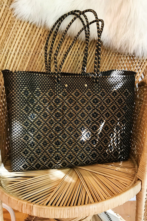Wahako Large Tote- Black & Gold #10