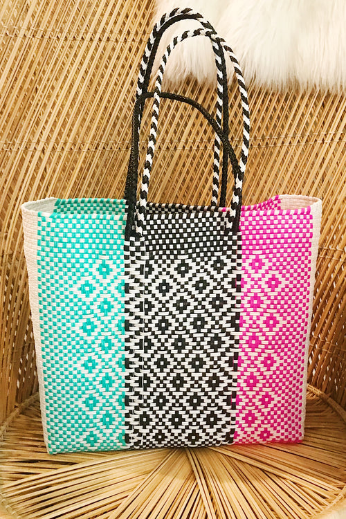 Wahako Medium Tote-Black, Pink, Teal #2