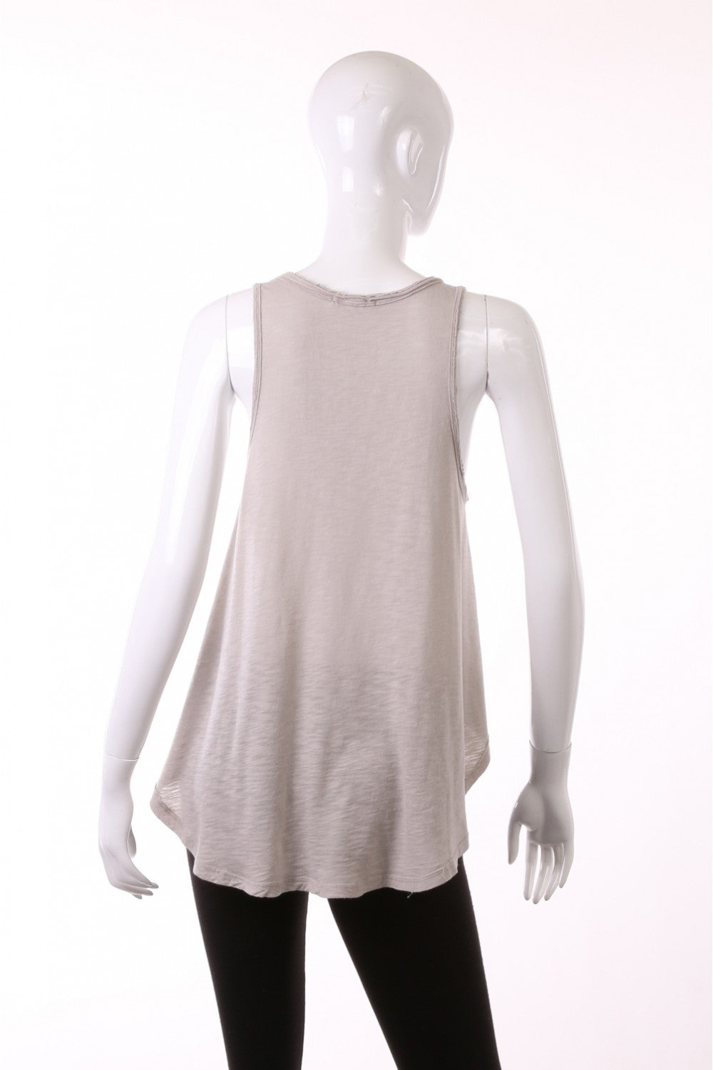 Grey Solid Curved Hem Tank Top