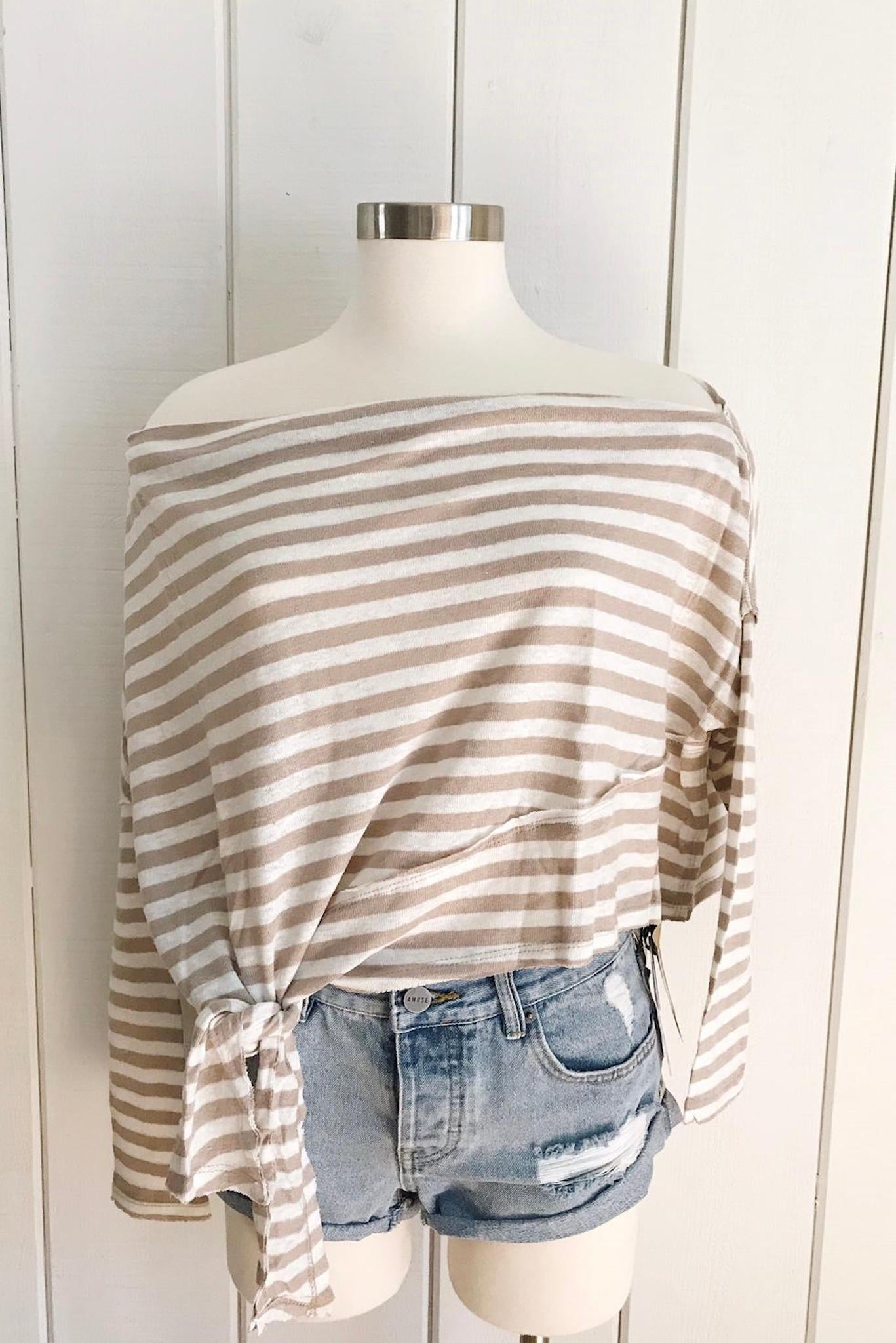 Sand/Ivory Striped L/S Boat Neck Top w/Side Tie - Ella J Boutique
