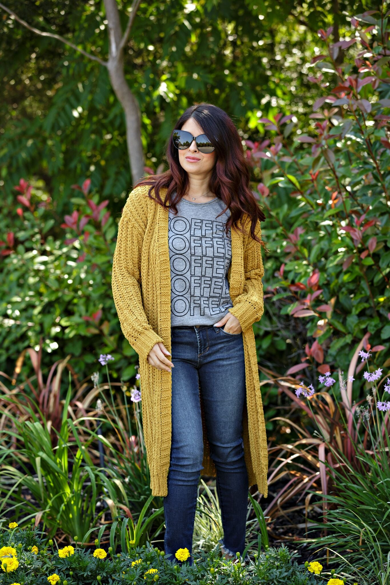 Fashion on Earth Long Knitted Cardigan-Mustard - Ella J Boutique