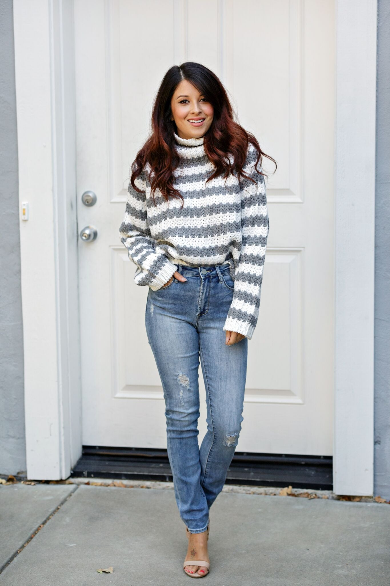 Elan Turtle Neck L/S Sweater-Heather Grey/Off White Stripe - Ella J Boutique