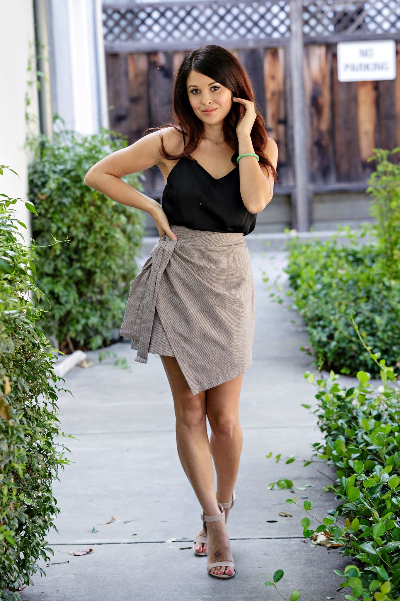 Wrap Tie Mini skirt-Brown