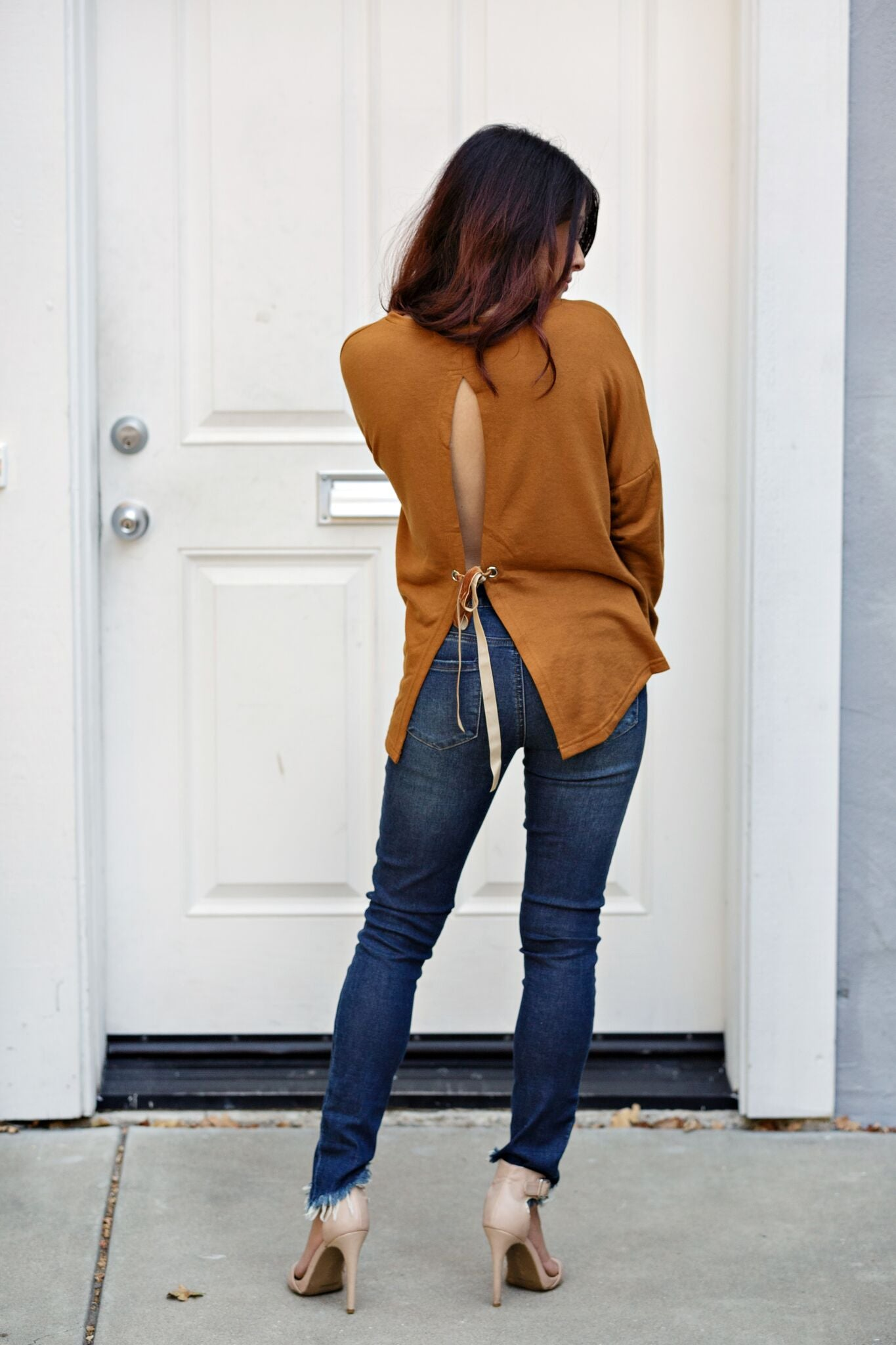 Tie Back Drop Sleeve Boxy Top-Camel