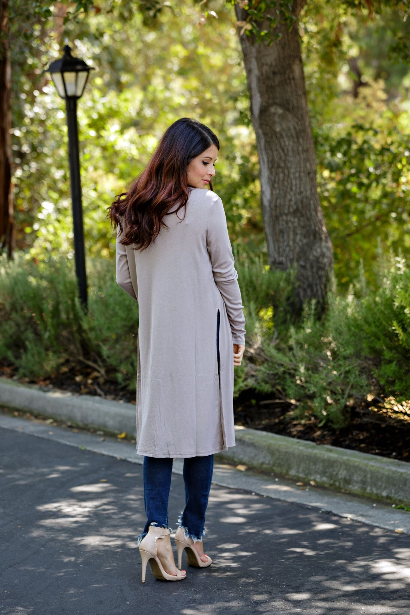 Long L/S Cardigan-Taupe